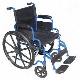 Drive Medical Blue Streak Wheelchair Flip Back Detachable Desk Arms Swing-away Foot Rest