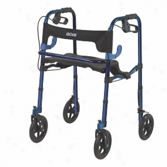 Drive Medical Deluxe Clever Lite Rollator Walker With 8  Casters Flame Blue