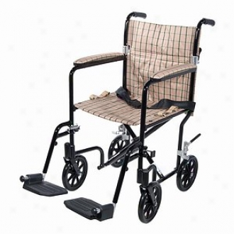 Drive Medical Fly-weight Transport Chair, Black Frame/tan Plaid Upholstery
