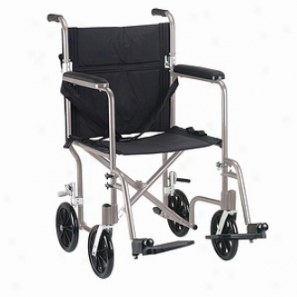 Drive Medical Fly-wright Transport Chair, Silver Frame/black Upholstery