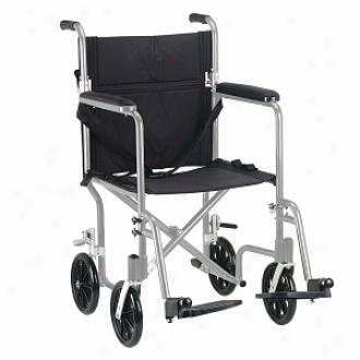 Drive Medical Flyweight Lightweight Aluminum Transport Wheelchair 17  Silver