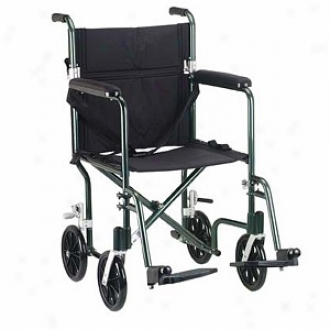 Drive Medical Flyweight Lightweight Aluminum Transport Wheelchair 19  Green
