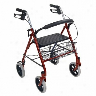 Drive Medical Four Wheel Rollator With Fold Up Remmovable Back Support