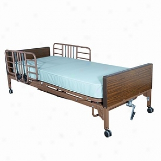 Driv eMedical Half Extent Bed Rail, ToolF ree Adjustable Width, With Brown Vein Finish