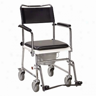 Drive Medical Portable Upholstered Wheeled Drop Arm Commode Chrome