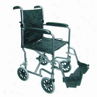 Duro-med 19 Inch Ultra Lightweight Aluminum Transport Chair, Titanium