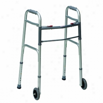 Duro-med Two-button Release Folding Walker With Wheels, White