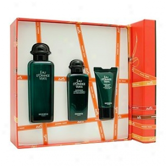 Eau D'orange Verte Along Hermes Set Eau De Cologne Spray Moisturizing Face Emulsion Shampoi Toiletry Bag
