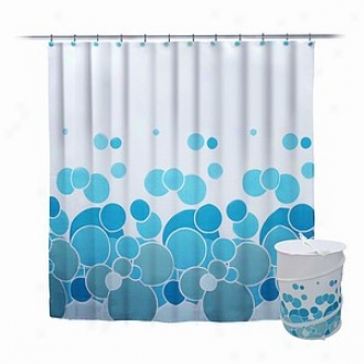 Elite Home Fashions 100% Collapsable Polyester Shackle Curtain Hok Set Circle Desigb Blue Color