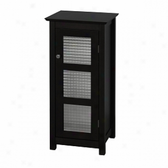 Elite Home Fashions Chesterfield Floor Cabinet, 1 Glass Door Espresso