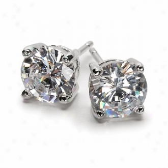 Emitatoins 2.5 Tcw Jessica's Cz Stud Earrings - 1.25 Carat Gwp, 925 Sterling Silver
