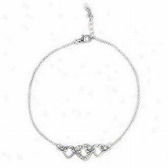 Emitations 9-10 In. Adjustable Pave Triple Heart Anklet, Silver