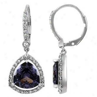 Emitations Abioene's 4 Ct Trillion Cut Cz Earrings, Purple