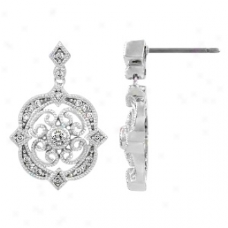 Emitations Abril's Cz Vintage Dangle Earrings, Silver Tone