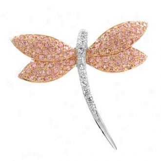 Emitations Adsila's Pink And Clear Cz Dragonfly Brooch, Pink And Clear