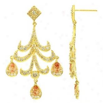 Emitations Allete's Champagne Cz Chandelier Earrings, Gold