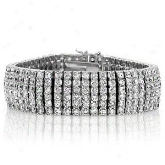 Emitations Amorys Round Cut Cz Cuff Bracelet - 7 Inch, Silver Tone