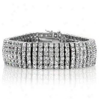 Emitations Amory's Round Cut Cz Cuff Bracelet - 7.5 Inch, Silver Tone
