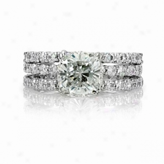 Emitations Angitas Cushion Cut Cz Wedding Ring Trio Set, 10