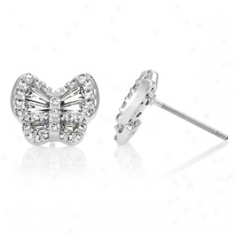 Emitations Anona's Baguette Cut Cz Butterfly Stdu Earrings, Silver Tone