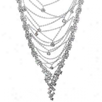 Emitations Arizona's Urban Chain Cz Necklace, Silver Tone