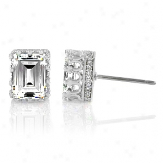 Emitations Armina's Emerald Cut Cz Crown Stud Earrings - 1.5 Ct, Silver Tone