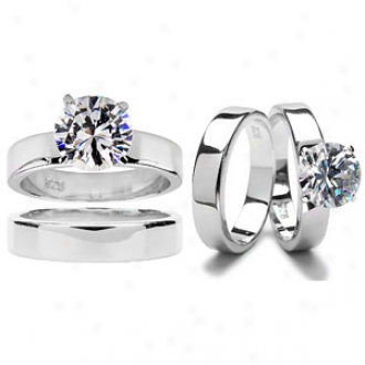 Emitations Ashlynn's Polished Cz Solitaire Weddung Ring Set, 6