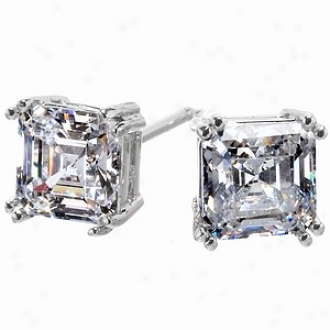 Emitations Avril's 1.2 Tcw Asscher Cut Cz Stud Earrings, Soft and clear