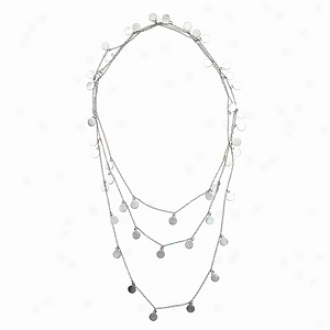 Emitations Ayla's 60 In. Brushed Dangle Disc Layered Necklace, Silvrr