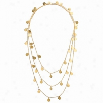 Emitations Aylas 60 In. Brushed Gold Plated Dangle Disc Layered Necklace, Gold