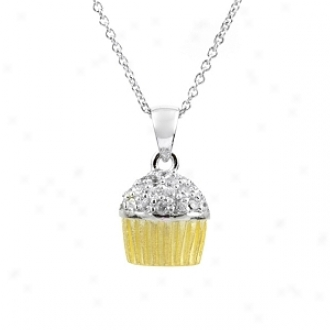 Emitations Baker's Cz Cupcake Necklace With Back, Two Tone