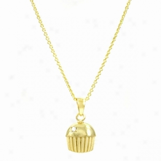 Emitations Baker's Single Stone Cupcake Necklace, Gold Plated
