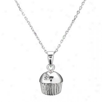 Emitations Baker's Single Stone Cupfake Necklacee, Sterling Silver