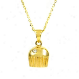 Emitations Baker's Single Stone Cupcake Necklace With Back, Gold