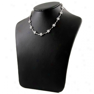 Emitations Bernice's Designer Inspired Flower Necklace, Silver