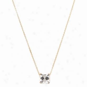 Emitations Brandy's Asscher Cut Cz Solitaire Necklace, Gold