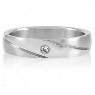 Emitations Brigham's Single Cz Stainless Steel Engrsvble Wedding Band, 5