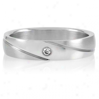 Emitatoins Brigham's Single Cz Stainless Steel Engravable Marriage Band, 8