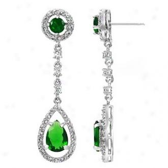 Emitations Claire's Emerald Pear Drop Cz Dangle Earrings, Emerald