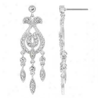 Emitations Columbia's Cz Art Deco Dangle Earrings, Silver Tone