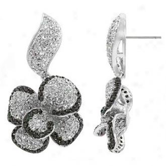 Emitations Conteasa's Two-tone Flower Cz Earrings, Silver Tone