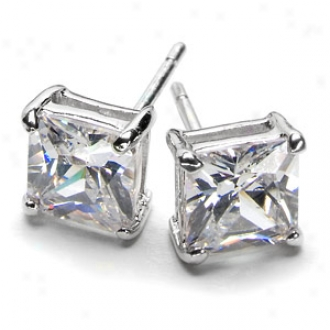Emitations Corina's Princess Cut Cz Stud Earrigns, Silver