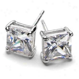 Emitations Corina's Princess Cut Cz Stud Earrigns, Silver