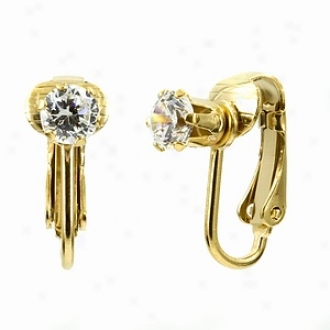 Emitations Deenas Clip On Earrings- April Birthstone, Faux Diamonc