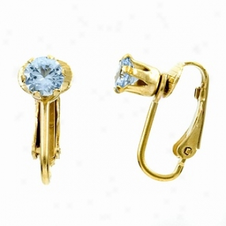 Emitations Deenas Clip On Earrings- December Birthstone, Faux Blue Zircon