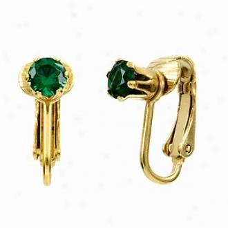 Emitations Deenas Clip On Earrings- May Birthstone, Faux Emerald