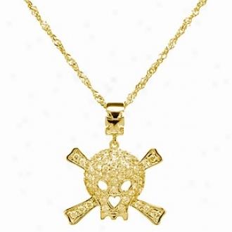 Emitations Deimos' Cz Skull & Crossbones Necklace Small, Gold