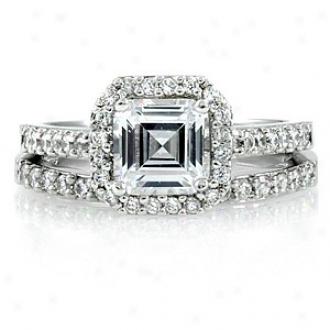 Emitations Devon's 1.5 Ct Asscher Cut Cz Wedding Ring Set, 6