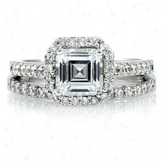 Emitations Devon's 1.5 Ct Asscher Cut Cz Wedding Ring Set, 8