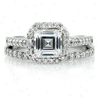 Emitations Devon's 1.5 Ct Asscher Cut zC Wedding Ring Set, 9
